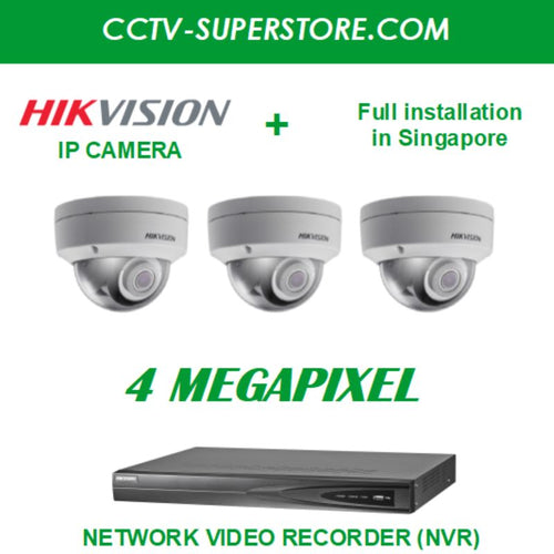 Hikvision 3 x 4MP HD CCTV IP Camera Package with Installation in Singapore, Setup for Remote Viewing