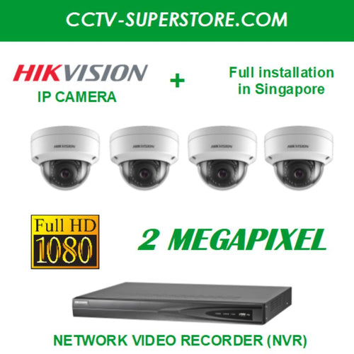 Hikvision 4 x 2MP Full HD IP Camera Package with Installation in Singapore, Setup for Remote Viewing