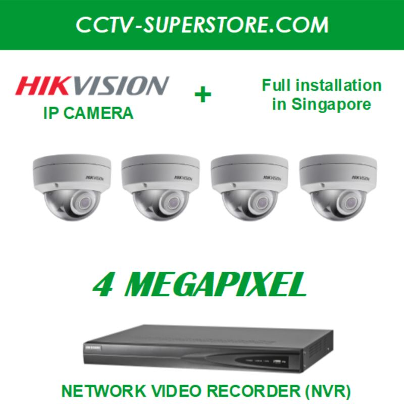 Hikvision 4 x 4MP HD CCTV IP Camera Package with Installation in Singapore, Setup for Remote Viewing