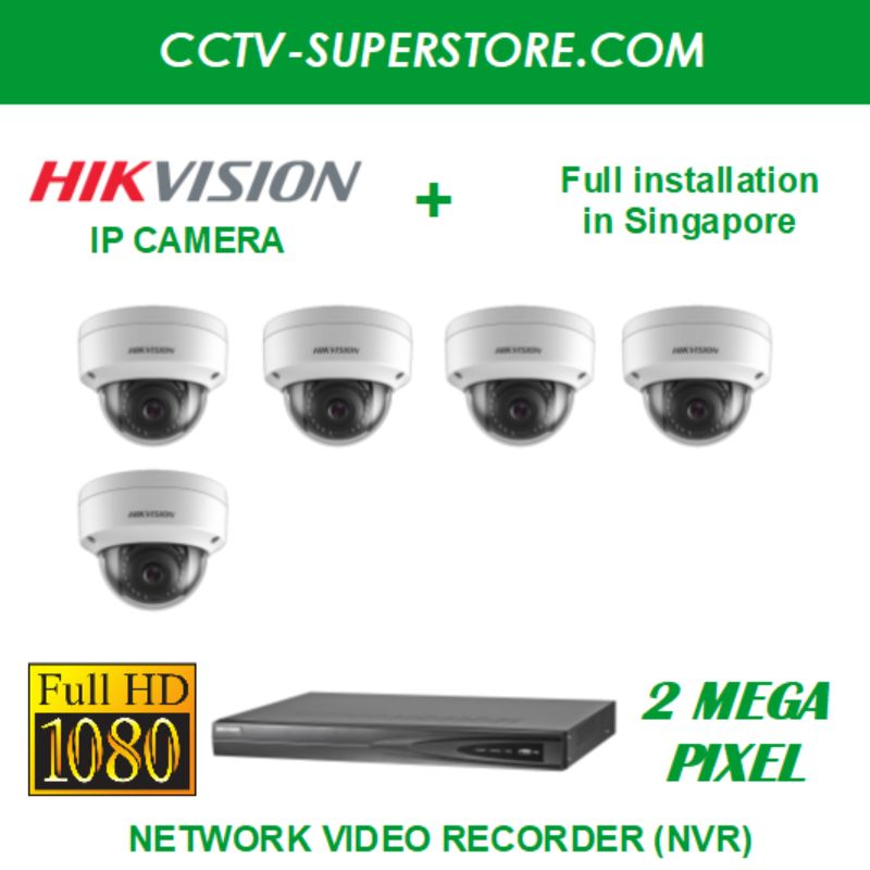 Hikvision 5 x 2MP Full HD IP Camera Package with Installation in Singapore, Setup for Remote Viewing