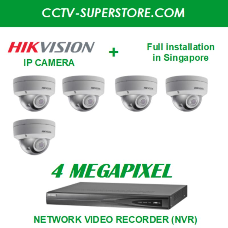 Hikvision 5 x 4MP HD CCTV IP Camera Package with Installation in Singapore, Setup for Remote Viewing