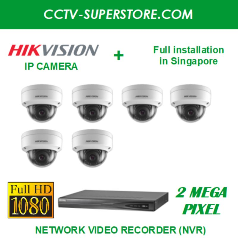 Hikvision 6 x 2MP Full HD IP Camera Package with Installation in Singapore, Setup for Remote Viewing