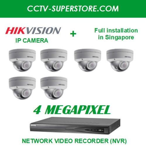 Hikvision 6 x 4MP HD CCTV IP Camera Package with Installation in Singapore, Setup for Remote Viewing