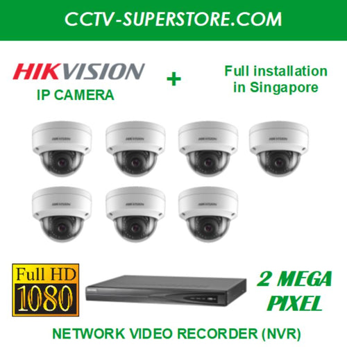 Hikvision 7 x 2MP Full HD IP Camera Package with Installation in Singapore, Setup for Remote Viewing