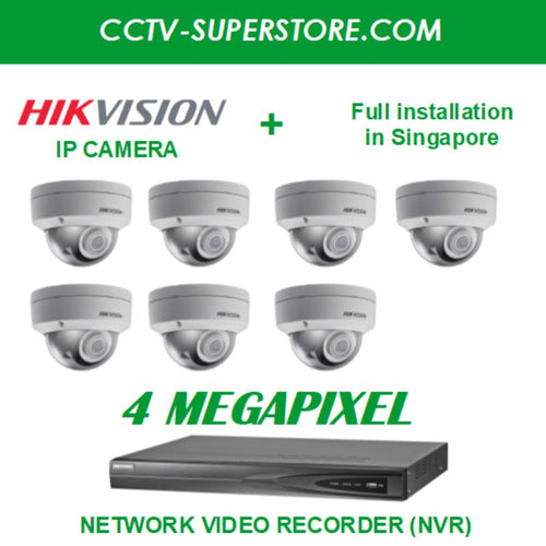 Hikvision 7 x 4MP HD CCTV IP Camera Package with Installation in Singapore, Setup for Remote Viewing
