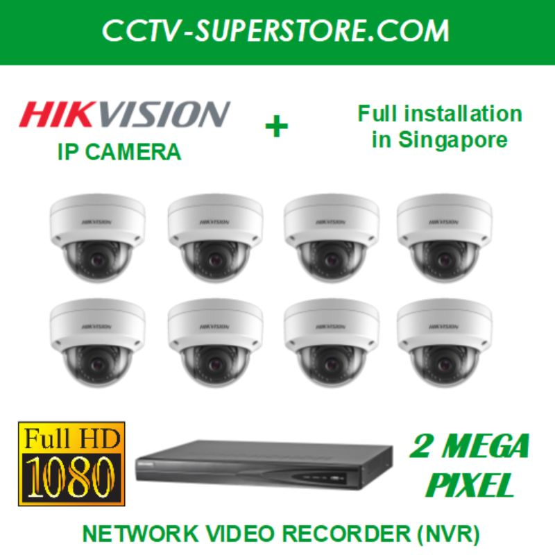 Hikvision 8 x 2MP Full HD IP Camera Package with Installation in Singapore, Setup for Remote Viewing