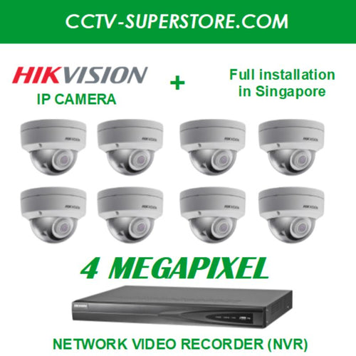 Hikvision 8 x 4MP HD CCTV IP Camera Package with Installation in Singapore, Setup for Remote Viewing