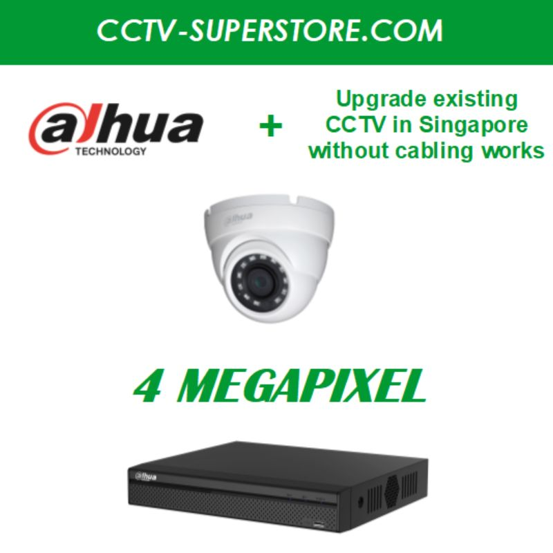 Dahua 1 x 4MP HD CCTV Camera Upgrade Package in Singapore, UHD Display Output, Setup for Remote Viewing