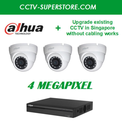 Dahua 3 x 4MP HD CCTV Camera Upgrade Package in Singapore, UHD Display Output, Setup for Remote Viewing
