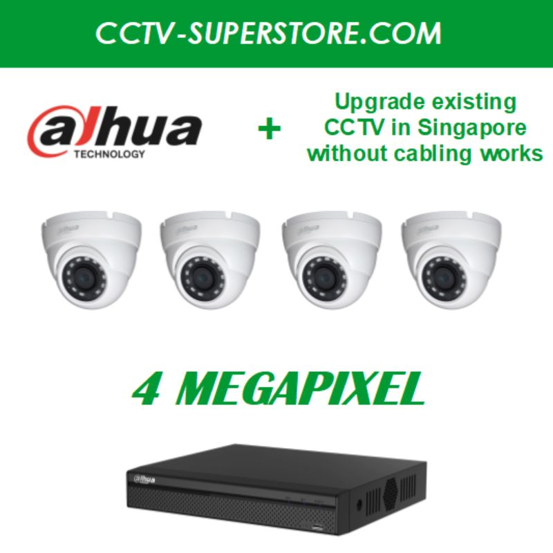 Dahua 4 x 4MP HD CCTV Camera Upgrade Package in Singapore, UHD Display Output, Setup for Remote Viewing