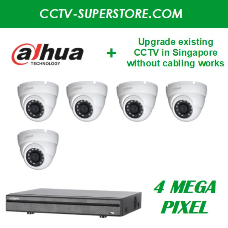 Dahua 5 x 4MP HD CCTV Camera Upgrade Package in Singapore, UHD Display Output, Setup for Remote Viewing