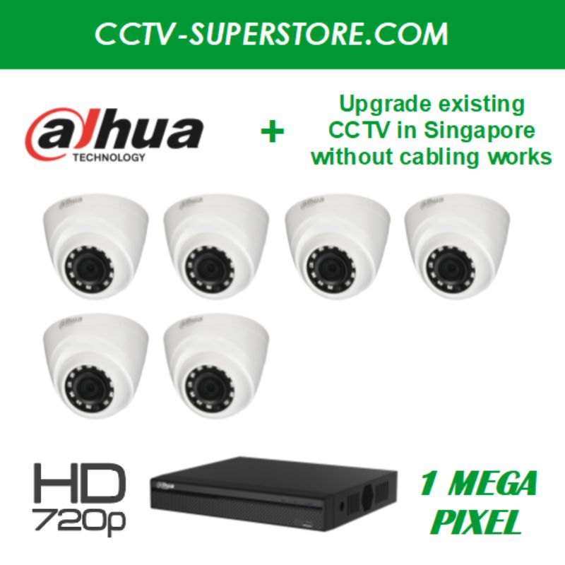 Dahua 6 x 1MP HD CCTV Camera Upgrade Package in Singapore, Setup for Remote Viewing