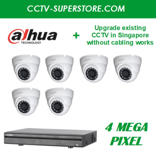Dahua 6 x 4MP HD CCTV Camera Upgrade Package in Singapore, UHD Display Output, Setup for Remote Viewing