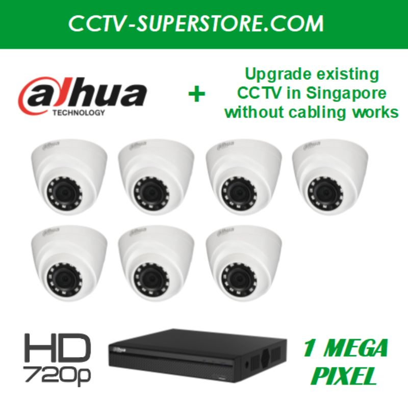 Dahua 7 x 1MP HD CCTV Camera Upgrade Package in Singapore, Setup for Remote Viewing