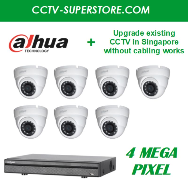 Dahua 7 x 4MP HD CCTV Camera Upgrade Package in Singapore, UHD Display Output, Setup for Remote Viewing