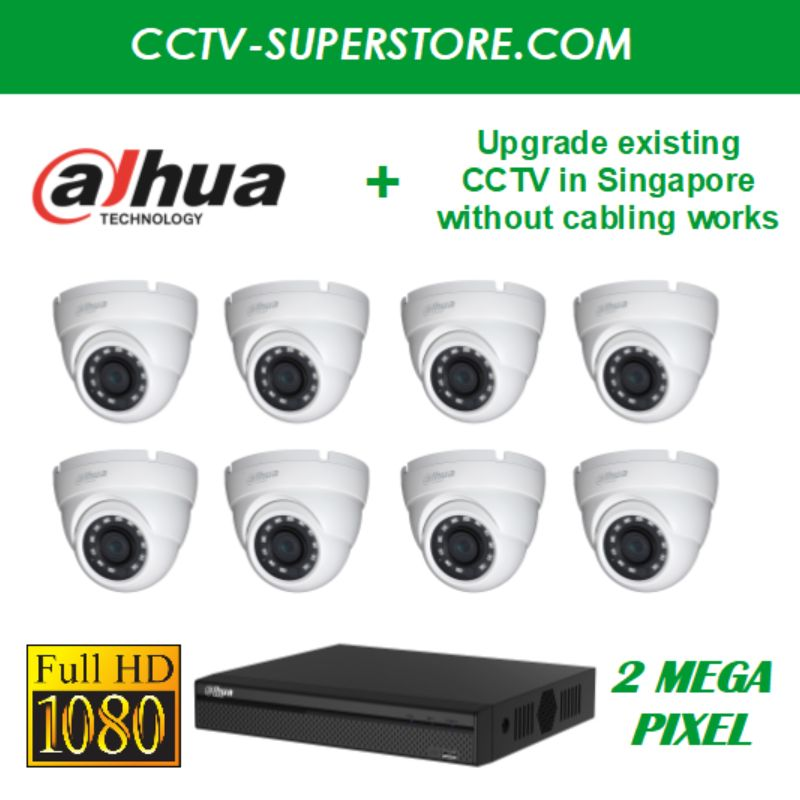 Dahua 8 x 2MP Full HD CCTV Camera Upgrade Package in Singapore, Setup for Remote Viewing