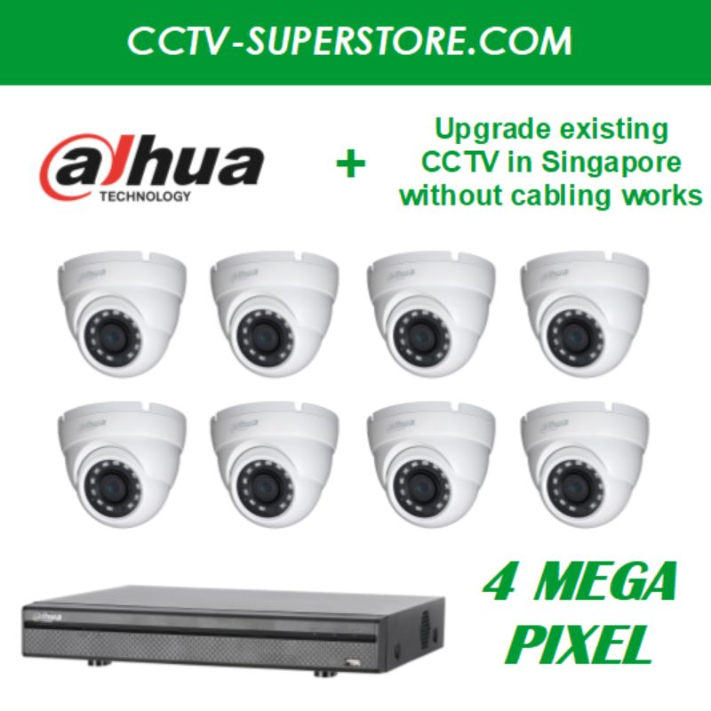 Dahua 8 x 4MP HD CCTV Camera Upgrade Package in Singapore, UHD Display Output, Setup for Remote Viewing