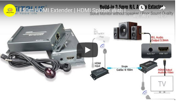 150m HDMI Extender | HDMI Splitter With IR Remote | IR Passback Extender | Over Ethernet TCP IP by RJ45 Cat5 Cat5e Cat6