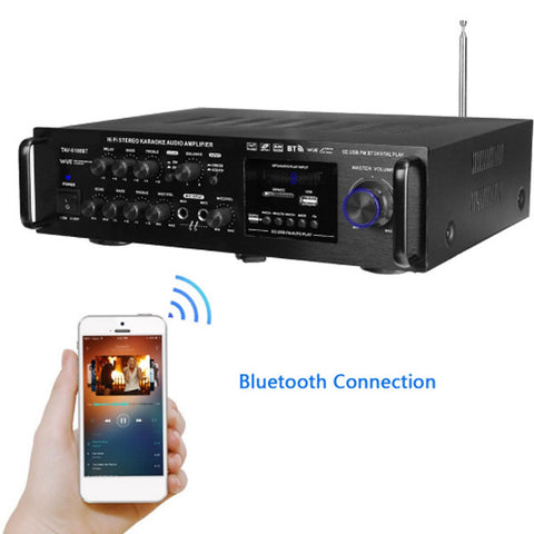 DIGITBLUE 2000W Wireless Digital Audio Amplifier | 4ohm Bluetooth Stereo Karaoke Amplifier | Home Theater Amplifier | 2 MIC Input FM RC | 220-240V