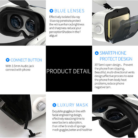 Image of Original Leather 3D VR Glasses | Cardboard Helmet Virtual Reality VR Glasses | Headset Stereo Box VR Glasses | For 4-6  Inch  Mobile Phone