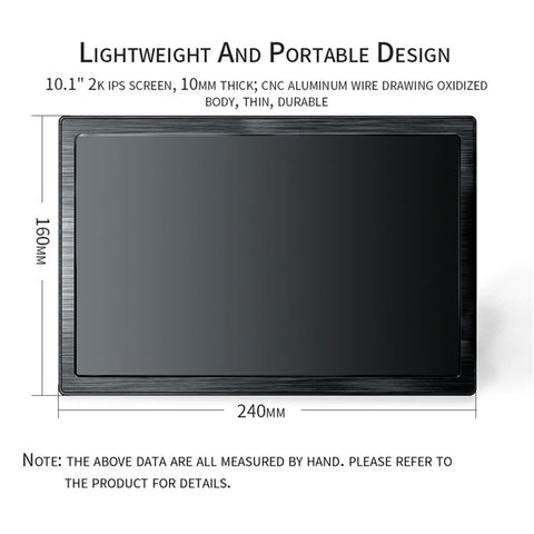 Image of 10.1 inch Portable Monitor | 2560*1600 FHD HDMI Monitor | LCD screen IPS Gaming Monitor | for Ps4 Xbox PC Computer Laptop
