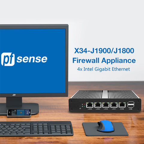 Pfsense Mini PC | Fanless Intel Celeron J1900 J1800 Processor | 4x Intel Gigabit Ethernet Firewall Appliance Router | Windows Mini PC Barebone