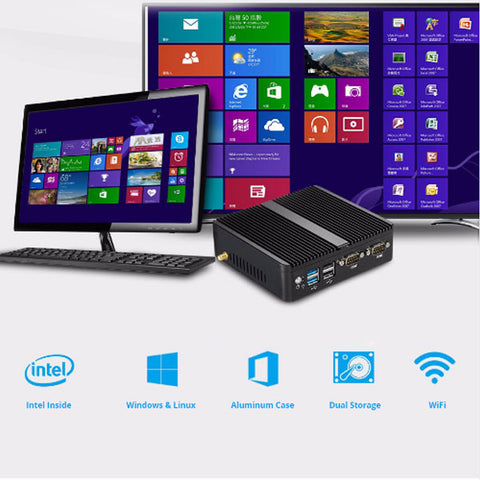 Image of DIGITBLUE® Mini Gaming PC | Windows 10 | Dual WIFI | HDMI 4K | Intel Celeron J1900 J1800 N2810 3805U | Gigabit Ethernet 2x RS232 Ports | 4x USB pfSense