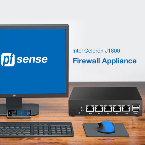 Mini PC | Intel Celeron J1800 Windows PC |  Firewall Router | 4 LAN Intel i211AT Gigabit Ethernet RJ45 | VGA 2xUSB | Windows Server Pfsense