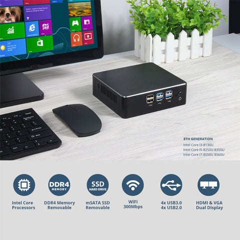 8th Intel Core Mini PC | i3 8130U i5 8250U i7 8550U Windows 10 PC | DDR4 Gigabit Ethernet | 300M WiFi | 8xUSB HDMI VGA 4K HTPC NUC