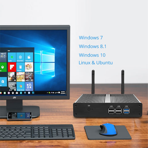 Mini PC | Intel Core i3-7100U Windows 10 PC | Fanless Micro Desktop PC | 8GB RAM 240GB SSD | 300Mbps WiFi Gigabit Ethernet | HDMI VGA 6*USB
