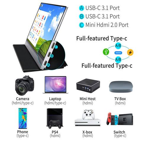 Image of 15.6 FHD 1080p Portable Monitor | Touch LCD Screen Monitor | for Ps4 Xbox Switch Gaming Laptop PC Phone