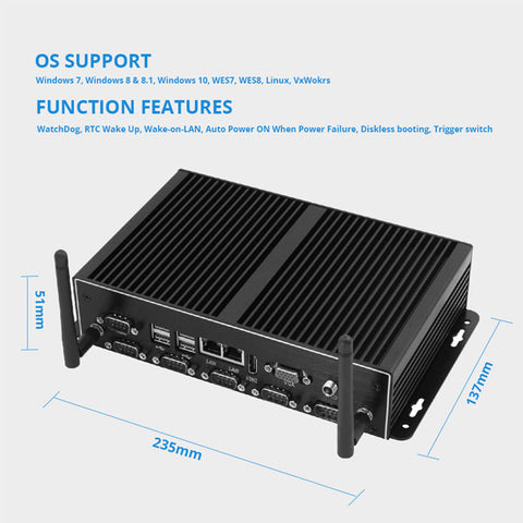 Image of Fanless Mini PC | Intel Core i7-4500U Windows PC | Industrial Micro PC | Dual Gigabit Ethernet WiFi | 6*RS232/485 8*USB | HDMI VGA 4G LTE