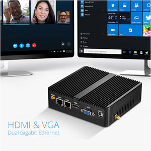 DIGITBLUE Fanless Mini PC | Windows 10 Computer PC | Mini Computer Dual WIFI | Intel Celeron J1900 J1800 N2810 3805U | HDMI 4K | Gigabit Ethernet 2x RS232 Ports | 4x USB pfSense