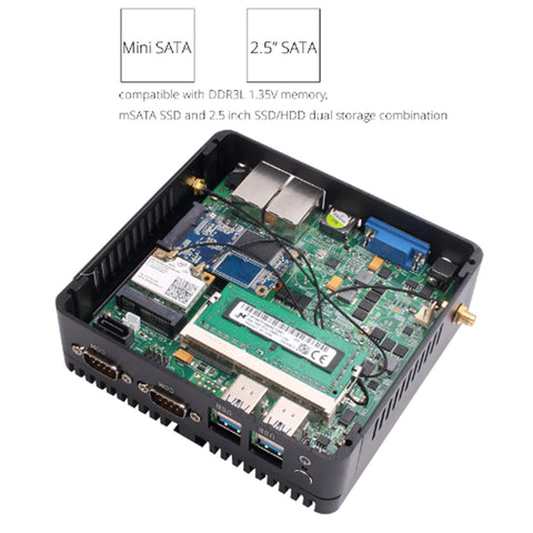Image of DIGITBLUE Mini PC | Windows 10 | Intel Celeron 2.41 GHz · 8 GB RAM · 120GB SSD | Mini Computer Dual WIFI | HDMI 4K | Gigabit Ethernet 2x RS232 Ports | 4x USB pfSense