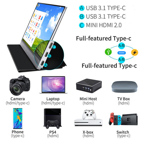 Ultra thin 15.6 portable monitor 1080P LED screen Type-C HDMI