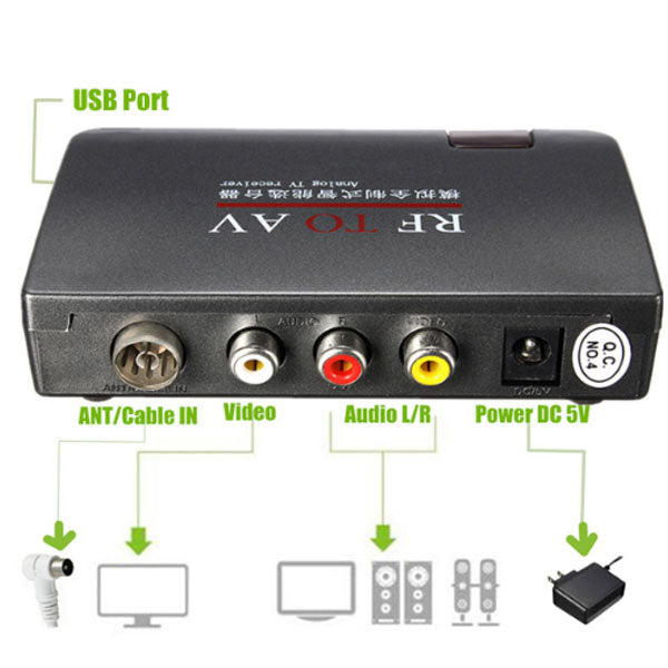 RF TO AV Receiver | RF To AV Analog Cable TV Converter | USB With Remote Control Whole Rule | AC110V-AC240V