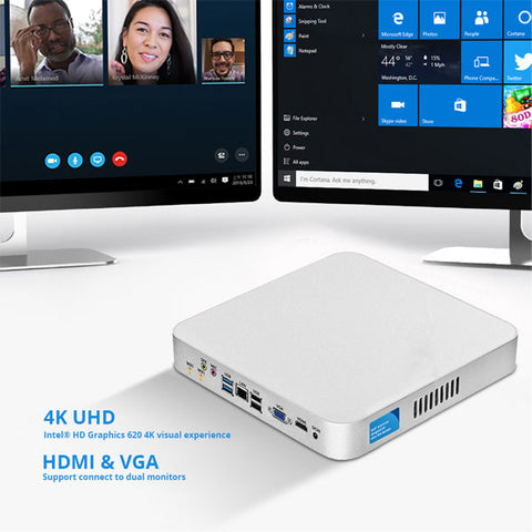 7th Gen Intel Core Mini PC |  i7-7500U i5-7200U i3-7100U Windows 10 PC |  Linux 4K UHD HTPC HDMI | VGA 6*USB | 300M WiFi Gigabit Ethernet