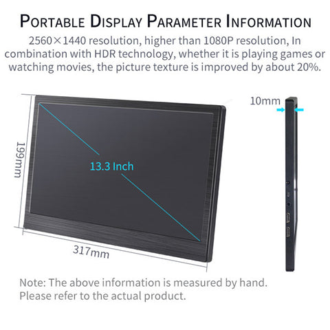 DIGITBLUE® 13.3 Inch 2k IPS Portable Monitor | Laptop Gaming Monitors | HDMI LED Display for Computer PC PS4 Xbox Camera 2560x1440 Digitblue