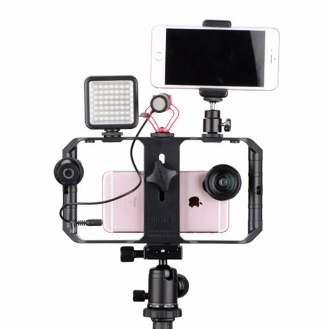 Image of DIGITBLUE Pro Smartphone Video U-Rig | 3 Shoe Mounts Filmmaking Case | Handheld Phone Video Stabilizer | Grip Tripod Mount Stand