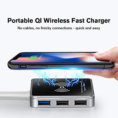 Image of Digitblue USB Type C Hub, 7-In-1 Aluminum USB C to HDMI 4K, 5W Qi-Certified Wireless Charging, USB 3.0 Ports, 2 USB 2.0 Port, SD/TF Card Reader, Pd Charger, Portable for Mac Pro and More USB C Devices