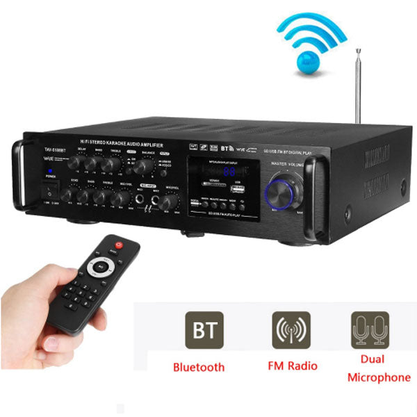 2000W Wireless Digital Audio Amplifier | 4ohm Bluetooth Stereo Karaoke Amplifier | Home Theater Amplifier | 2 MIC Input FM RC | 220-240V