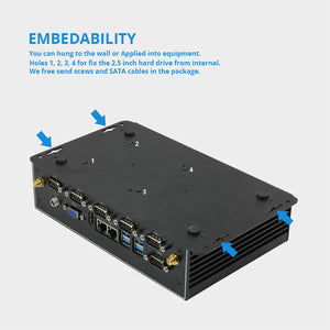 Fanless Mini PC | Intel Core i7-4500U Windows PC | Industrial Micro PC | Dual Gigabit Ethernet WiFi | 6*RS232/485 8*USB | HDMI VGA 4G LTE