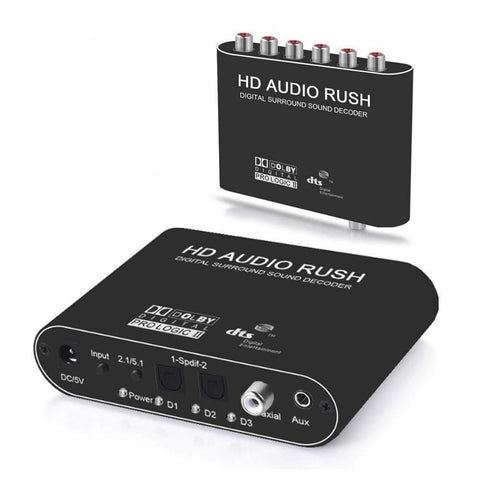 Image of Digitblue 5.1CH AC3/DTS Stereo Audio Decoder, Digital to Analog Audio Sound Decoder Converter Optical SPDIF Coaxial Dolby AC3 DTS Stereo(R/L) to 5.1CH Analog Audio (6RCA Output)