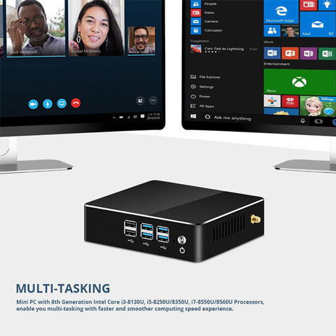 Image of 8th Intel Core Mini PC | i3 8130U i5 8250U i7 8550U Windows 10 PC | DDR4 Gigabit Ethernet | 300M WiFi | 8xUSB HDMI VGA 4K HTPC NUC