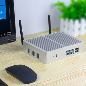 Fanless Mini PC | Windows 10 Mini Desktop Computer | Intel Core i7 7200U i3 7100U 6100U i5 | 4K HTPC Nettop PC | HDMI VGA WiFi