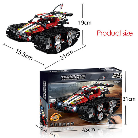Image of Technic RC Racer Car | Electric Motor Power Function  RACER Car |  City Tracked Racer Car Model Bricks Toys | for Boys Gifts | 2 Color Styles