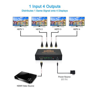 Digitblue HDMI Splitter, 1X4 Ports Powered V1.4b Video Converter with Full Ultra HD 1080P 4K and 3D Resolutions for Xbox PS4 PS3 Fire Stick Roku Blu-Ray Player Apple TV HDTV