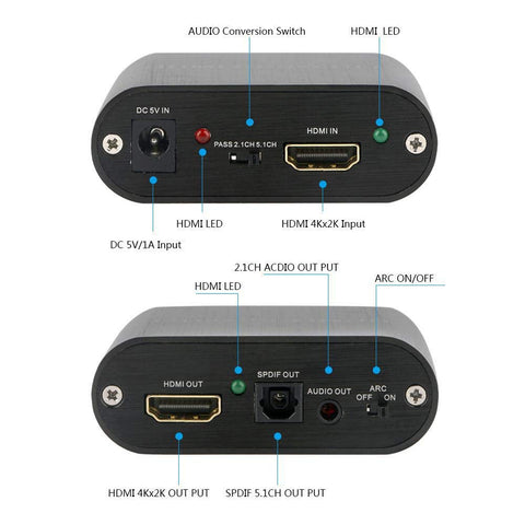 Image of Digitblue 4K HDMI Audio Extractor, HDMI to HDMI with Audio and Optical Toslink SPDIF + 3.5mm Stereo Audio Out, HDMI Audio Extractor Splitter Converter Adapter, Support 4K@60Hz 1080P Full HD 3D for PS4