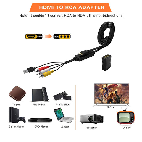 Digitblue HDMI to RCA, 1080P HDMI to AV 3RCA CVBs Composite Video Audio Converter Cable, Support PAL/NTSC, Amazon Fire Stick, Roku, Chromecast, for PC, Laptop, HDTV, DVD, PS3, PS4, STB, Xbox, etc