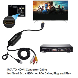 Digitblue RCA to HDMI Converter, AV to HDMI Adapter Cable, 3RCA CVBS Composite to Audio Video Converter Supporting PAL NTSC 1080P for PC Laptop,Xbox,PS3,PS4,TV,STB,VH, VCR Camera DVD Players